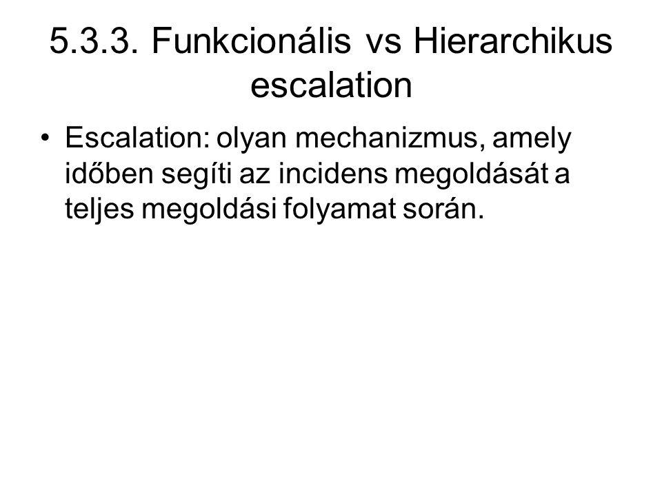 5.3.3. Funkcionális vs Hierarchikus escalation Escalation: olyan mechanizmus, amely időben segíti az incidens megoldását a teljes megoldási folyamat s
