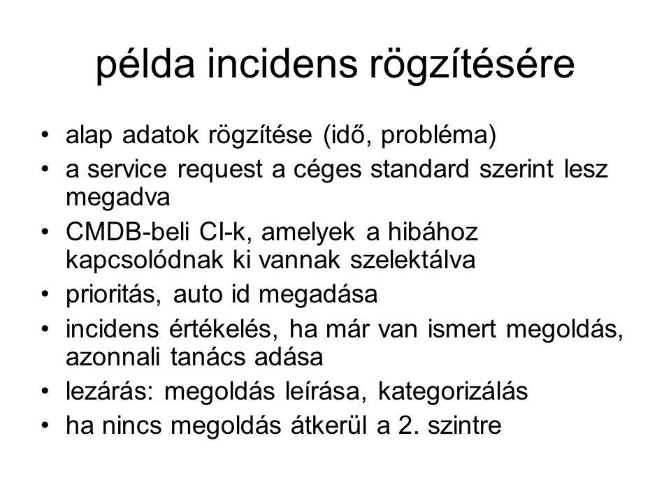 példa incidens rögzítésére alap adatok rögzítése (idő, probléma) a service request a céges standard szerint lesz megadva CMDB-beli CI-k, amelyek a hib