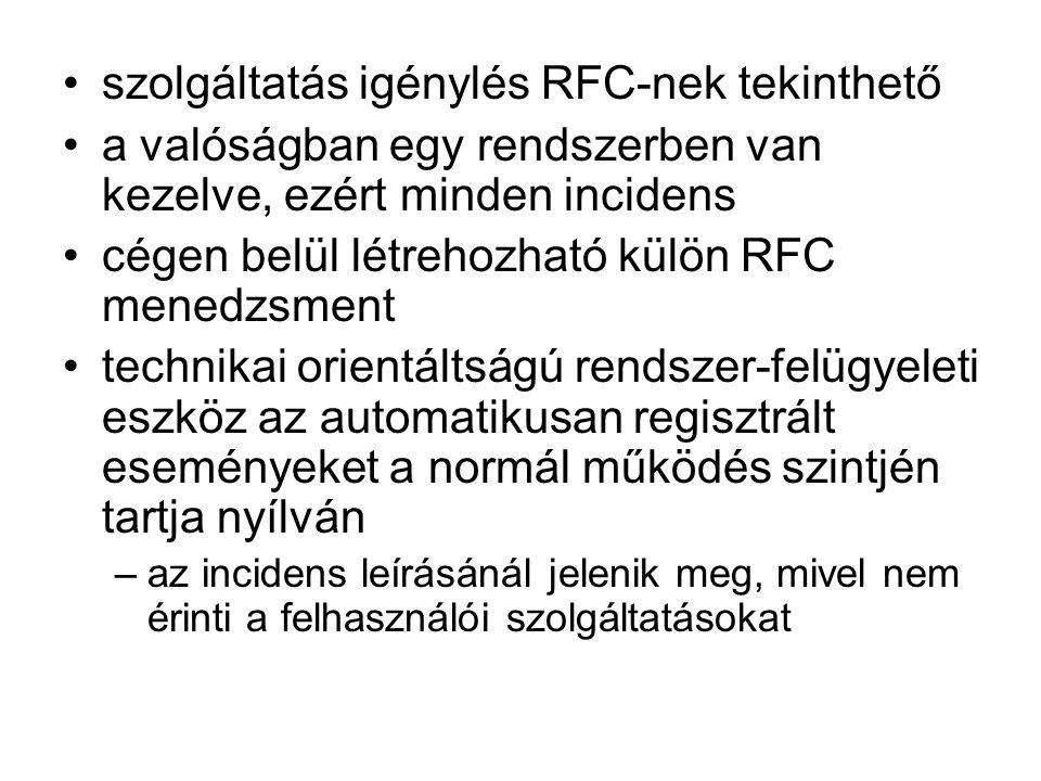 szolgáltatás igénylés RFC-nek tekinthető a valóságban egy rendszerben van kezelve, ezért minden incidens cégen belül létrehozható külön RFC menedzsmen