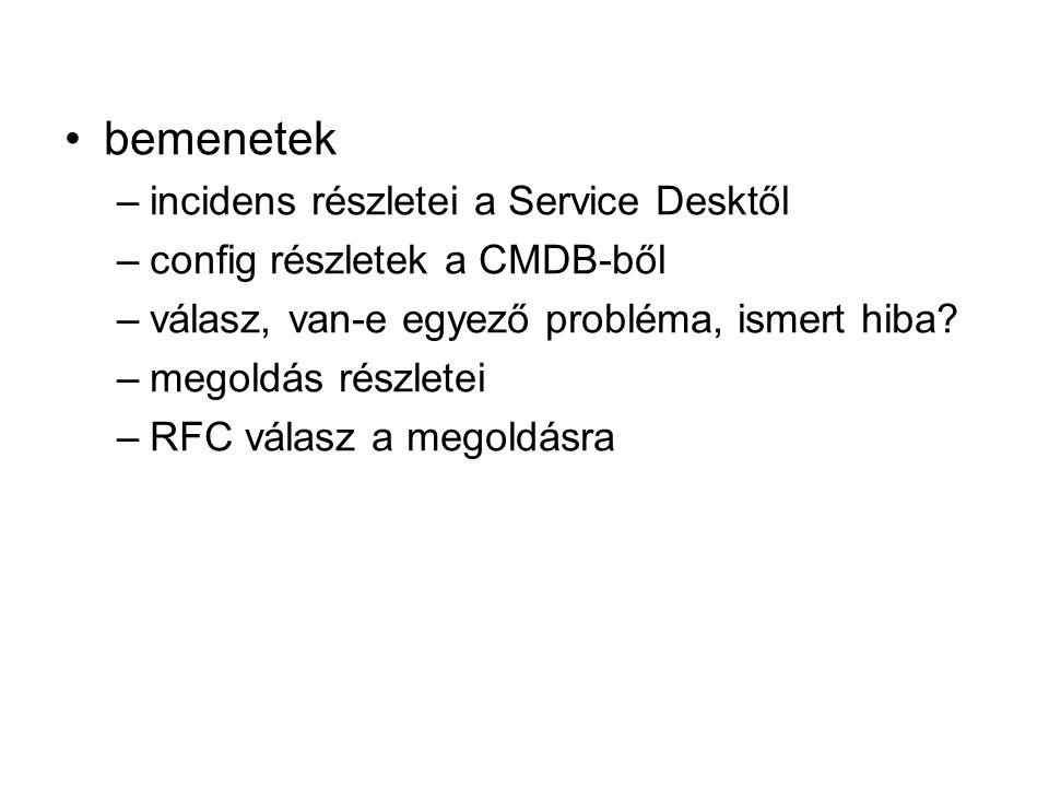 bemenetek –incidens részletei a Service Desktől –config részletek a CMDB-ből –válasz, van-e egyező probléma, ismert hiba? –megoldás részletei –RFC vál