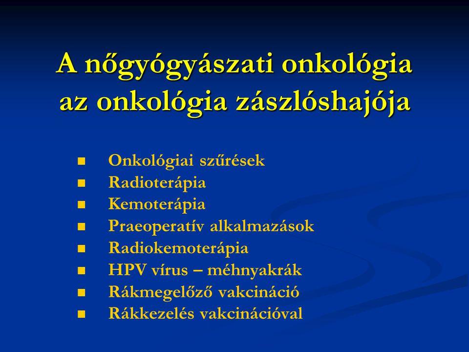 A nőgyógyászati onkológia az onkológia zászlóshajója Onkológiai szűrések Radioterápia Kemoterápia Praeoperatív alkalmazások Radiokemoterápia HPV vírus