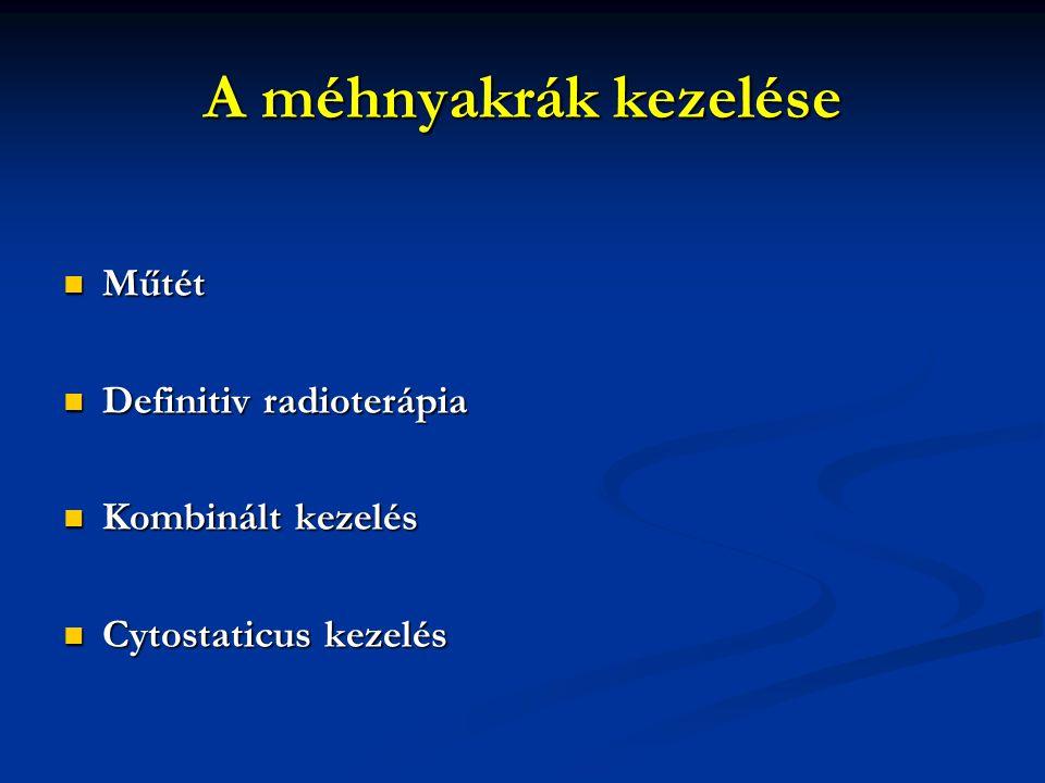 A méhnyakrák kezelése Műtét Műtét Definitiv radioterápia Definitiv radioterápia Kombinált kezelés Kombinált kezelés Cytostaticus kezelés Cytostaticus