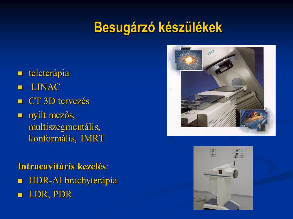Besugárzó készülékek teleterápia teleterápia LINAC LINAC CT 3D tervezés CT 3D tervezés nyílt mezős, multiszegmentális, konformális, IMRT nyílt mezős,