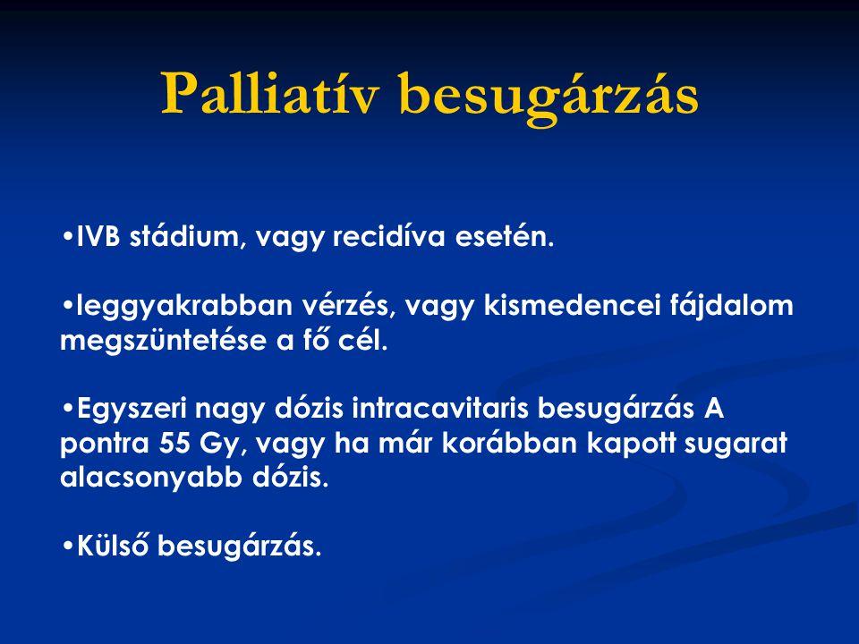 Palliatív besugárzás IVB stádium, vagy recidíva esetén. leggyakrabban vérzés, vagy kismedencei fájdalom megszüntetése a fő cél. Egyszeri nagy dózis in