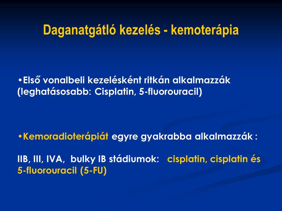 Első vonalbeli kezelésként ritkán alkalmazzák (leghatásosabb: Cisplatin, 5-fluorouracil) Kemoradioterápiát egyre gyakrabba alkalmazzák : IIB, III, IVA