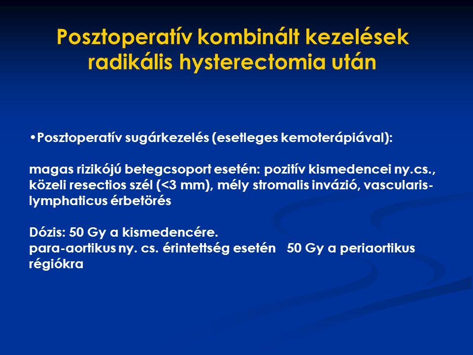 Posztoperatív sugárkezelés (esetleges kemoterápiával): magas rizikójú betegcsoport esetén: pozitív kismedencei ny.cs., közeli resectios szél (<3 mm),