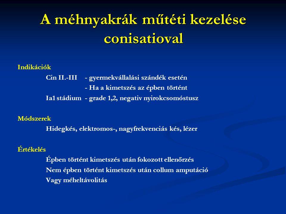 A méhnyakrák műtéti kezelése conisatioval Indikációk Cin II.-III - gyermekvállalási szándék esetén - Ha a kimetszés az épben történt Ia1 stádium - gra