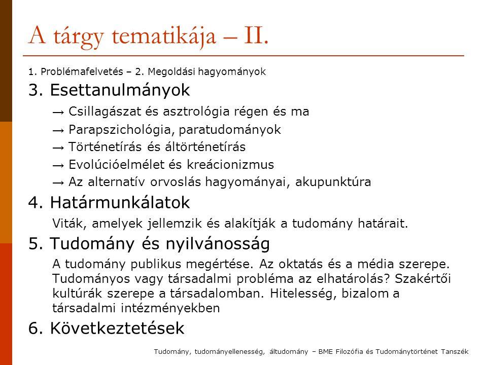 A tárgy tematikája – II. 1. Problémafelvetés – 2.