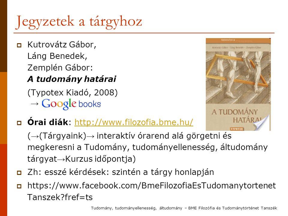 Jegyzetek a tárgyhoz  Kutrovátz Gábor, Láng Benedek, Zemplén Gábor: A tudomány határai (Typotex Kiadó, 2008) →  Órai diák: http://www.filozofia.bme.