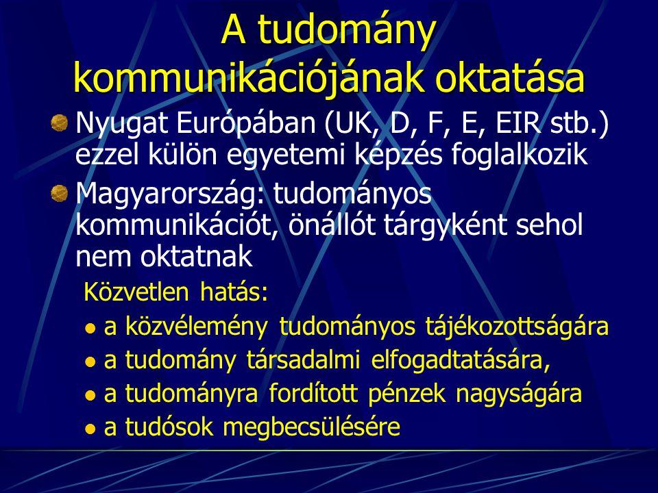 A tudomány kommunikációjának oktatása Nyugat Európában (UK, D, F, E, EIR stb.) ezzel külön egyetemi képzés foglalkozik Magyarország: tudományos kommunikációt, önállót tárgyként sehol nem oktatnak Közvetlen hatás: a közvélemény tudományos tájékozottságára a tudomány társadalmi elfogadtatására, a tudományra fordított pénzek nagyságára a tudósok megbecsülésére