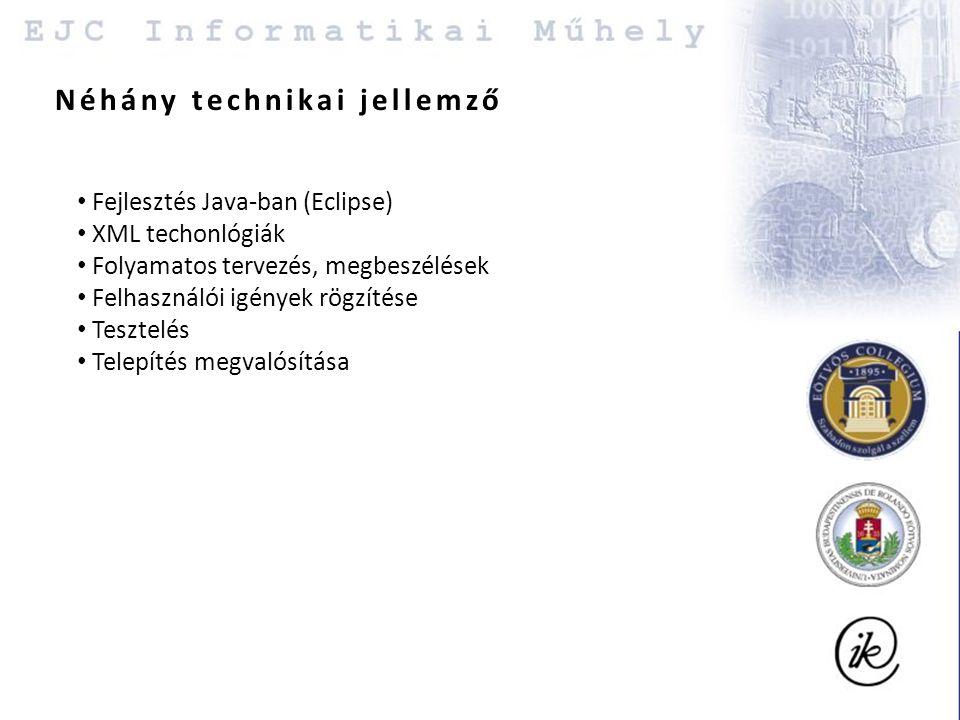 Néhány technikai jellemző Fejlesztés Java-ban (Eclipse) XML techonlógiák Folyamatos tervezés, megbeszélések Felhasználói igények rögzítése Tesztelés Telepítés megvalósítása