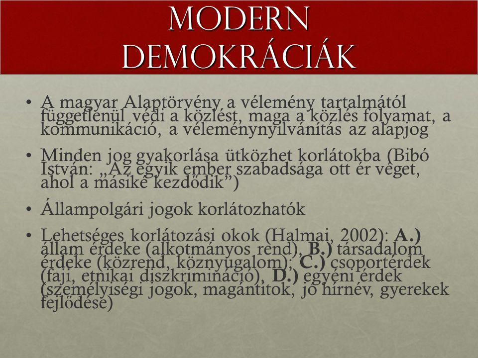 """Modern demokráciák A magyar Alaptörvény a vélemény tartalmától függetlenül védi a közlést, maga a közlés folyamat, a kommunikáció, a véleménynyilvánítás az alapjog Minden jog gyakorlása ütközhet korlátokba (Bibó István: """"Az egyik ember szabadsága ott ér véget, ahol a másiké kezd ő dik ) Állampolgári jogok korlátozhatók Lehetséges korlátozási okok (Halmai, 2002): A.) állam érdeke (alkotmányos rend), B.) társadalom érdeke (közrend, köznyugalom); C.) csoportérdek (faji, etnikai diszkrimináció), D.) egyéni érdek (személyiségi jogok, magántitok, jó hírnév, gyerekek fejl ő dése)"""