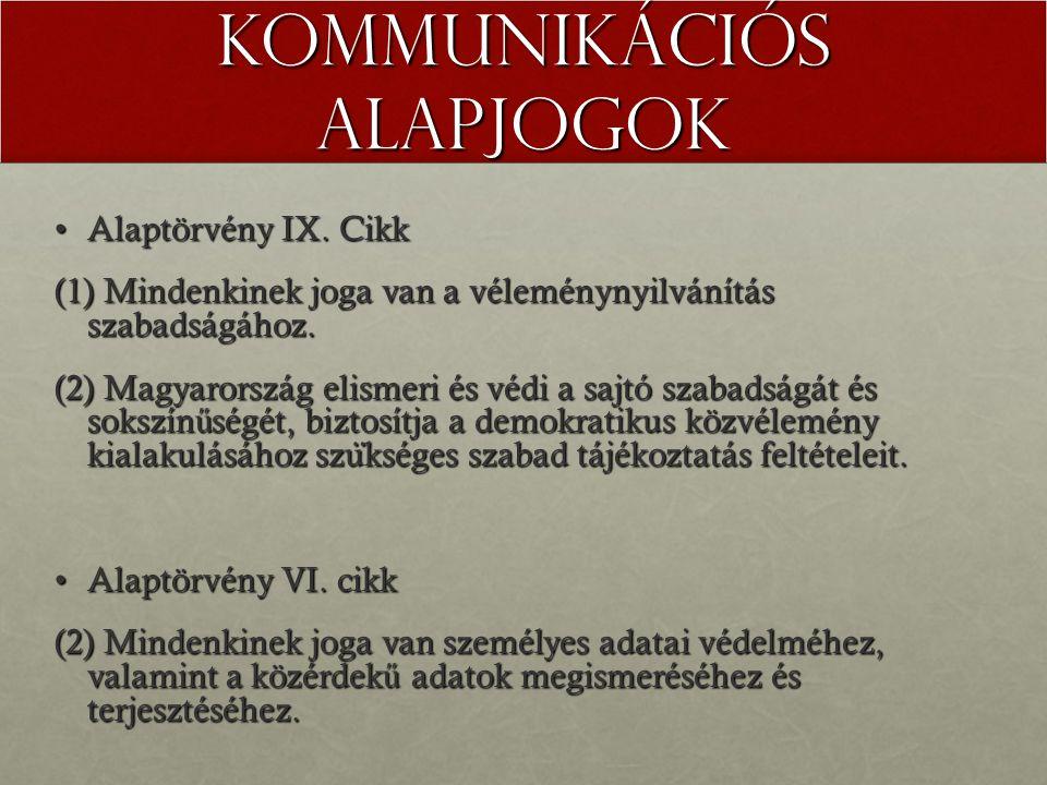 Kommunikációs alapjogok Alaptörvény IX. CikkAlaptörvény IX.