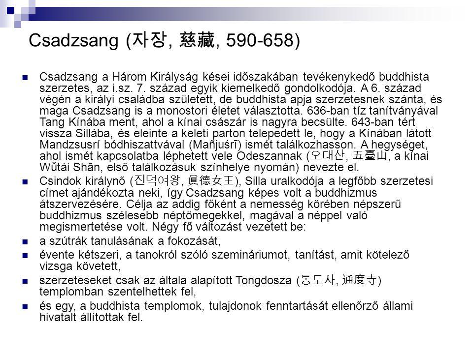 Csadzsang ( 자장, 慈藏, 590-658) Csadzsang a Három Királyság kései időszakában tevékenykedő buddhista szerzetes, az i.sz. 7. század egyik kiemelkedő gondo