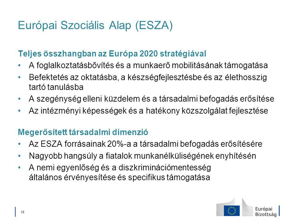 16 Európai Szociális Alap (ESZA) Teljes összhangban az Európa 2020 stratégiával A foglalkoztatásbővítés és a munkaerő mobilitásának támogatása Befektetés az oktatásba, a készségfejlesztésbe és az élethosszig tartó tanulásba A szegénység elleni küzdelem és a társadalmi befogadás erősítése Az intézményi képességek és a hatékony közszolgálat fejlesztése Megerősített társadalmi dimenzió Az ESZA forrásainak 20%-a a társadalmi befogadás erősítésére Nagyobb hangsúly a fiatalok munkanélküliségének enyhítésén A nemi egyenlőség és a diszkriminációmentesség általános érvényesítése és specifikus támogatása