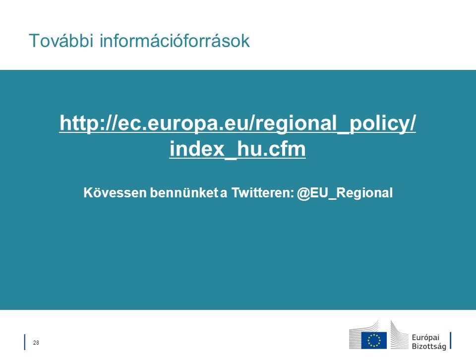 28 További információforrások Kövessen bennünket a Twitteren: @EU_Regional http://ec.europa.eu/regional_policy/ index_hu.cfm