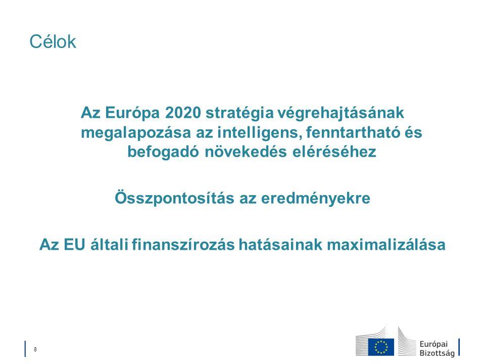 8 Célok Az Európa 2020 stratégia végrehajtásának megalapozása az intelligens, fenntartható és befogadó növekedés eléréséhez Összpontosítás az eredményekre Az EU általi finanszírozás hatásainak maximalizálása