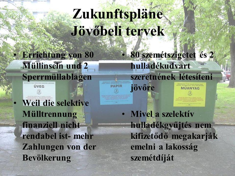 Zukunftspläne Jövőbeli tervek Errichtung von 80 Müllinseln und 2 Sperrmüllablagen Weil die selektive Mülltrennung finanziell nicht rendabel ist- mehr