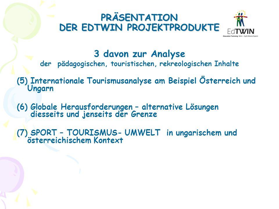 PRÄSENTATION DER EDTWIN PROJEKTPRODUKTE 3 davon zur Analyse der pädagogischen, touristischen, rekreologischen Inhalte (5) Internationale Tourismusanal