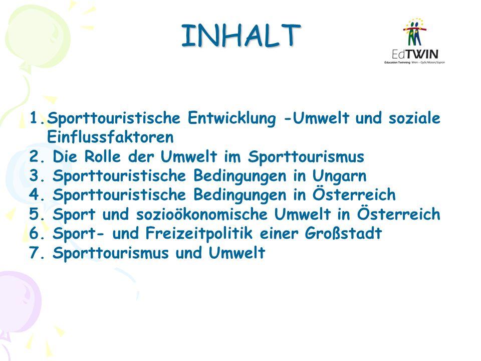 INHALT 1.Sporttouristische Entwicklung -Umwelt und soziale Einflussfaktoren 2. Die Rolle der Umwelt im Sporttourismus 3. Sporttouristische Bedingungen