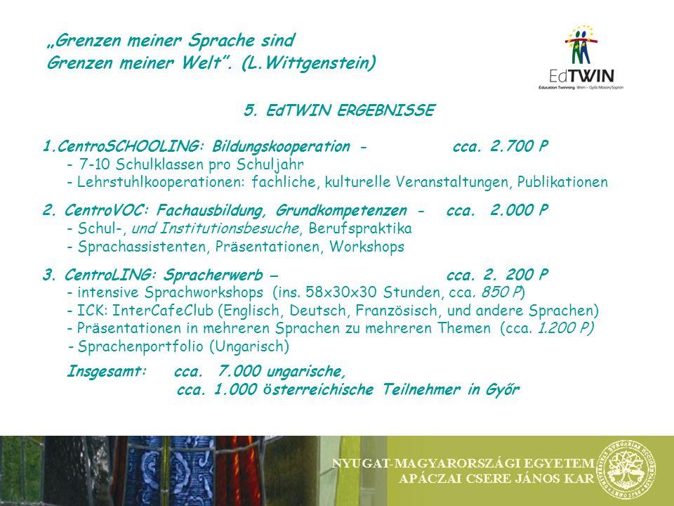 5. EdTWIN ERGEBNISSE 1.CentroSCHOOLING: Bildungskooperation - cca.