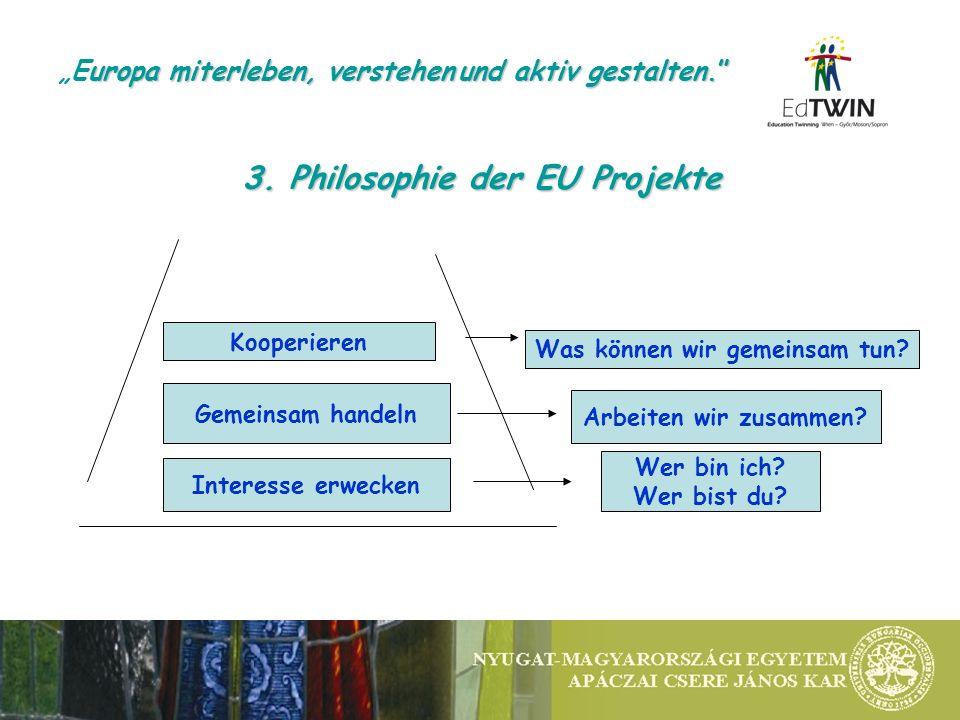 3. Philosophie der EU Projekte Interesse erwecken Gemeinsam handeln Kooperieren Wer bin ich.