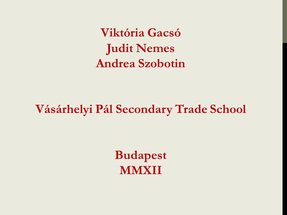 Viktória Gacsó Judit Nemes Andrea Szobotin Vásárhelyi Pál Secondary Trade School Budapest MMXII