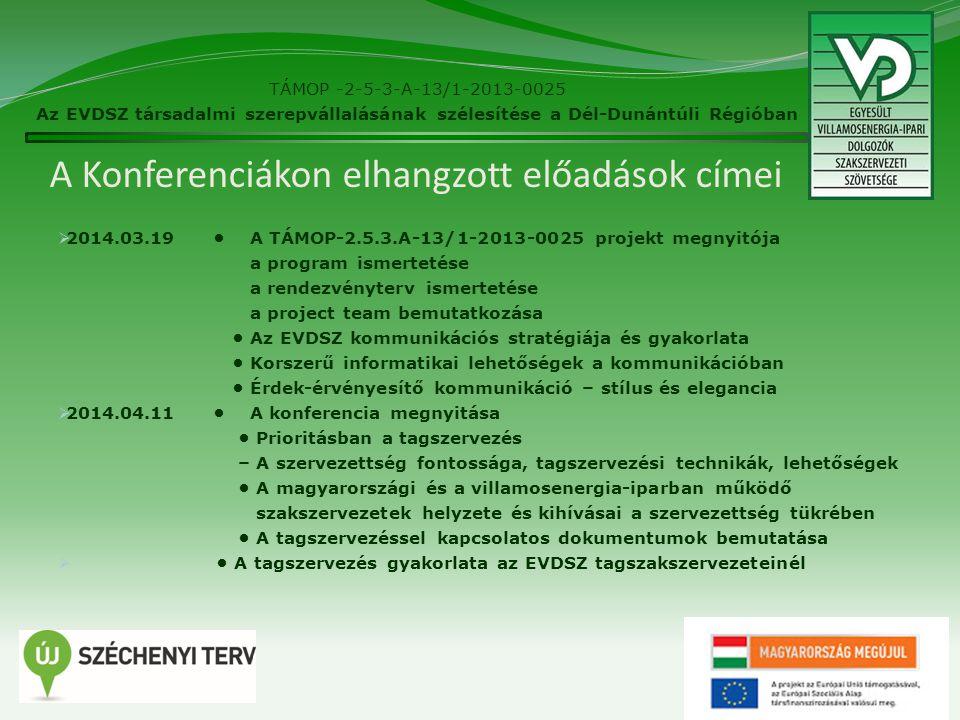 A Konferenciákon elhangzott előadások címei  2014.03.19 A TÁMOP-2.5.3.A-13/1-2013-0025 projekt megnyitója a program ismertetése a rendezvényterv ismertetése a project team bemutatkozása Az EVDSZ kommunikációs stratégiája és gyakorlata Korszerű informatikai lehetőségek a kommunikációban Érdek-érvényesítő kommunikáció – stílus és elegancia  2014.04.11 A konferencia megnyitása Prioritásban a tagszervezés – A szervezettség fontossága, tagszervezési technikák, lehetőségek A magyarországi és a villamosenergia-iparban működő szakszervezetek helyzete és kihívásai a szervezettség tükrében A tagszervezéssel kapcsolatos dokumentumok bemutatása  A tagszervezés gyakorlata az EVDSZ tagszakszervezeteinél 12 TÁMOP -2-5-3-A-13/1-2013-0025 Az EVDSZ társadalmi szerepvállalásának szélesítése a Dél-Dunántúli Régióban