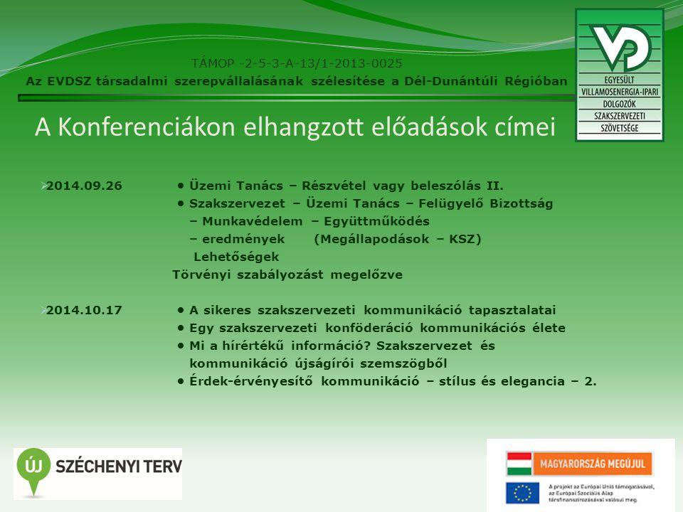 A Konferenciákon elhangzott előadások címei  2014.09.26 Üzemi Tanács – Részvétel vagy beleszólás II.