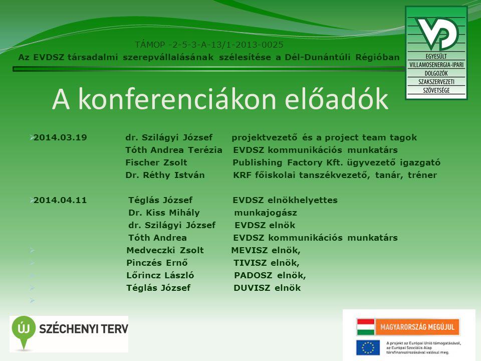 A konferenciákon előadók  2014.03.19dr.