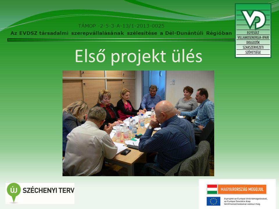Első projekt ülés 2 TÁMOP -2-5-3-A-13/1-2013-0025 Az EVDSZ társadalmi szerepvállalásának szélesítése a Dél-Dunántúli Régióban