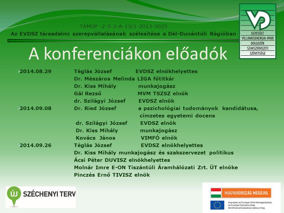 A konferenciákon előadók  2014.08.29Téglás József EVDSZ elnökhelyettes Dr.