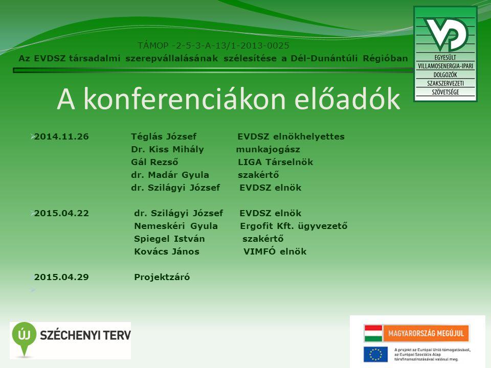 A konferenciákon előadók  2014.11.26 Téglás József EVDSZ elnökhelyettes Dr.
