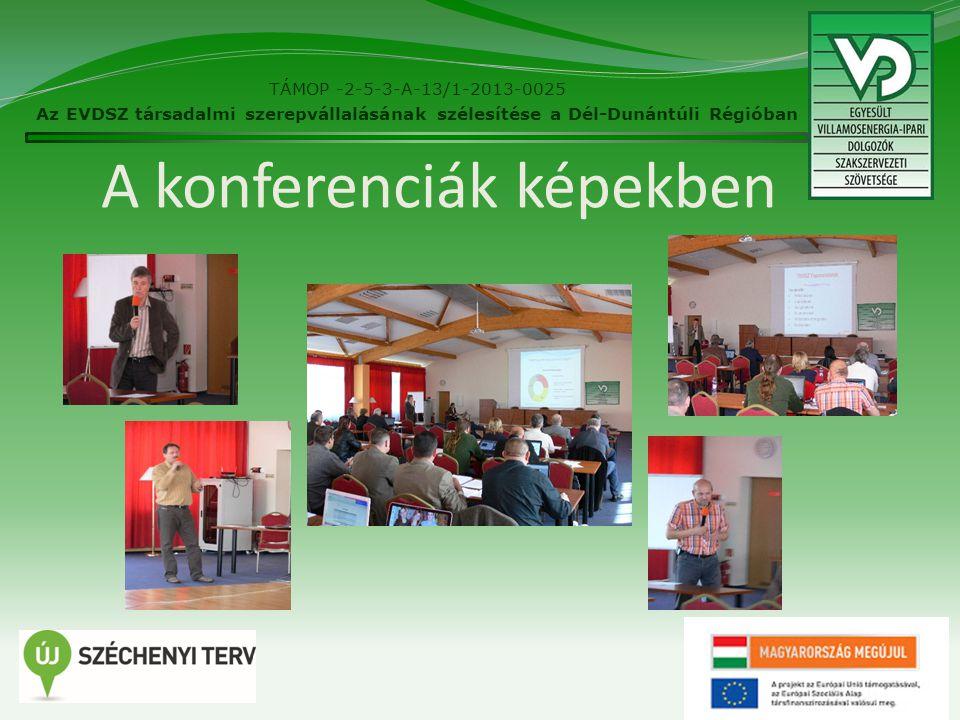 A konferenciák képekben 26 TÁMOP -2-5-3-A-13/1-2013-0025 Az EVDSZ társadalmi szerepvállalásának szélesítése a Dél-Dunántúli Régióban