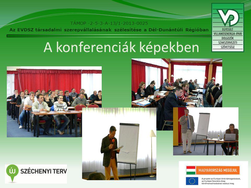 A konferenciák képekben 29 TÁMOP -2-5-3-A-13/1-2013-0025 Az EVDSZ társadalmi szerepvállalásának szélesítése a Dél-Dunántúli Régióban