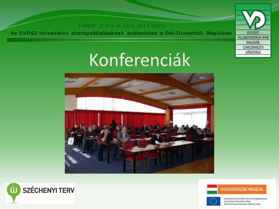 """A Konferenciákon elhangzott előadások címei  2014.11.07 Tájékoztató a Villamosenergia-ipari Ágazati Párbeszéd Bizottsággal (VÁPB) megkötött megállapodásról, a LIGA által elfogadott korhatár előtti ellátásról """"Ne görbítsd el, mert akkor nem kell kiegyenesítened avagy A kockázatértékelés alapjai, A speciális kockázat: pszicho-szociális kockázat A munkavédelmi bizottság ügyrendje, feladatterve."""