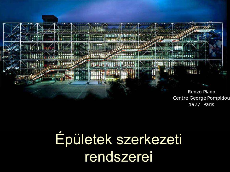 Épületek szerkezeti rendszerei Renzo Piano Centre George Pompidou 1977 Paris