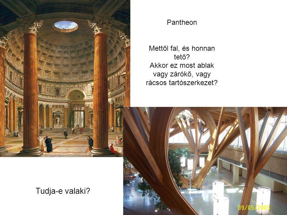 Pantheon Mettől fal, és honnan tető.Akkor ez most ablak vagy zárókő, vagy rácsos tartószerkezet.