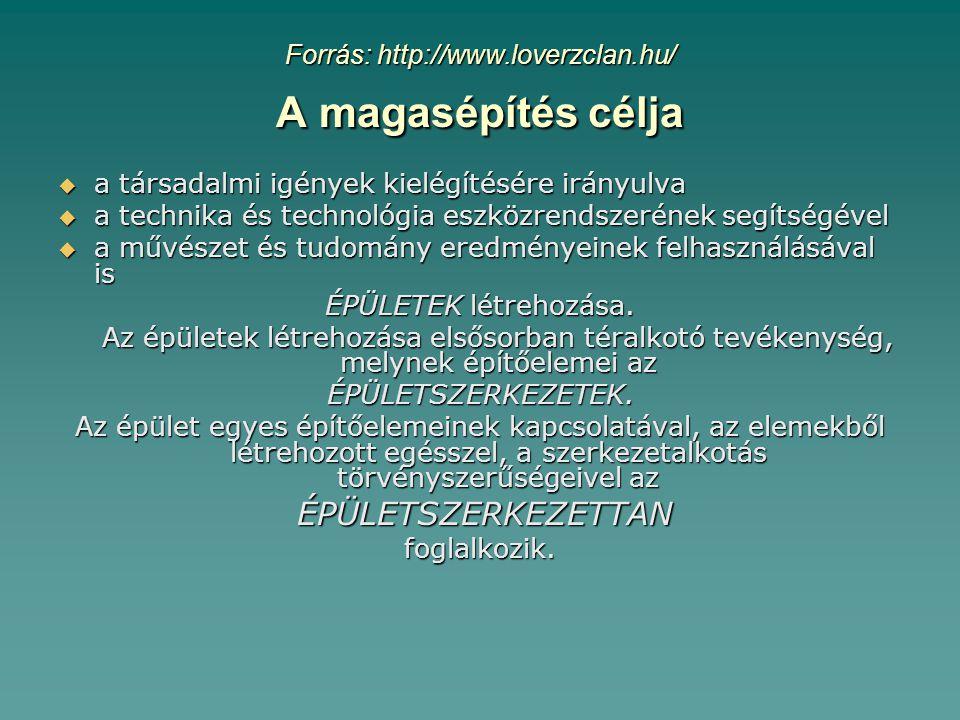 Forrás: http://www.loverzclan.hu/ A magasépítés célja  a társadalmi igények kielégítésére irányulva  a technika és technológia eszközrendszerének segítségével  a művészet és tudomány eredményeinek felhasználásával is ÉPÜLETEK létrehozása.