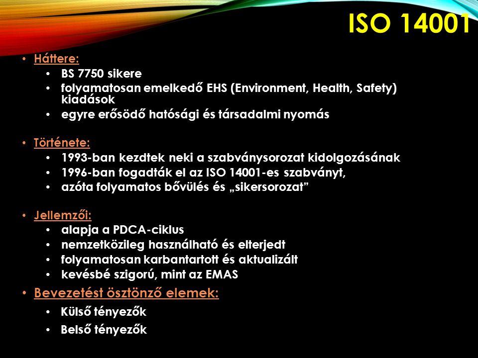 ISO 14001 Háttere: BS 7750 sikere folyamatosan emelkedő EHS (Environment, Health, Safety) kiadások egyre erősödő hatósági és társadalmi nyomás Történe