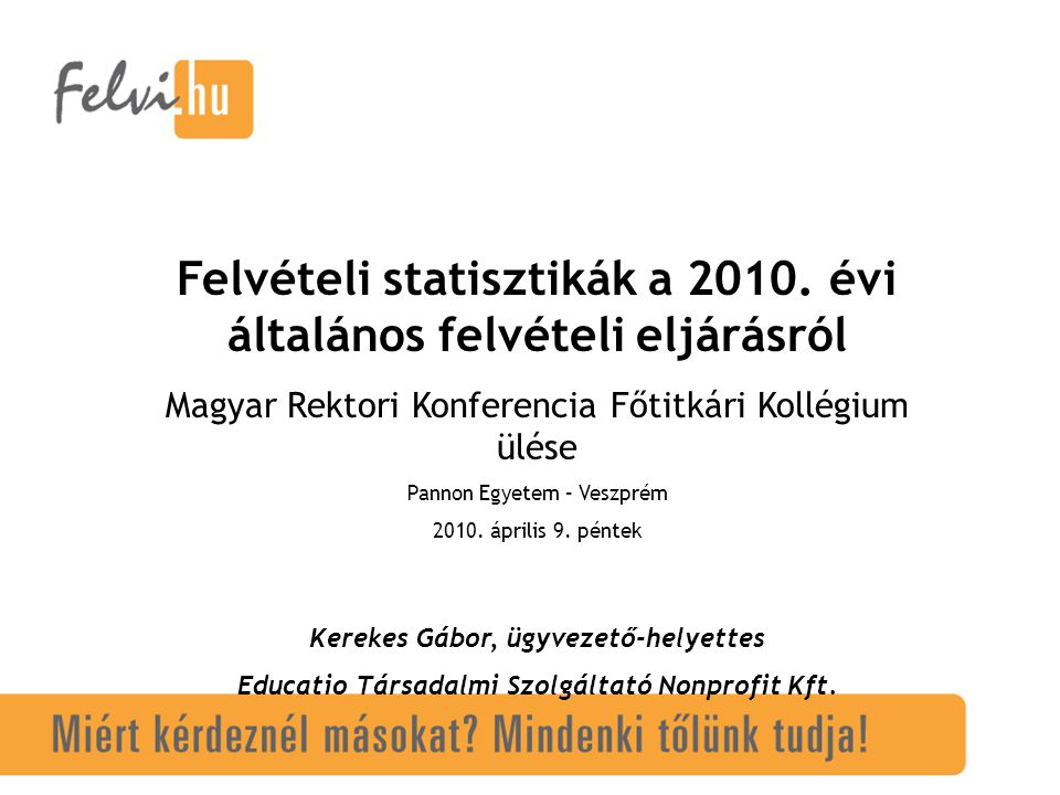 Felvételi statisztikák a 2010.
