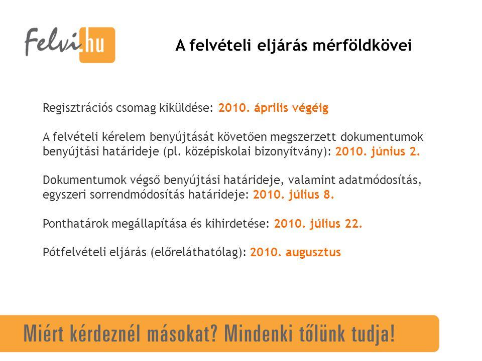A felvételi eljárás fontosabb határidői a felsőoktatási intézmények számára Gólya program leküldése: megtörtént Adatok terítése Gólyán keresztül: 2010.