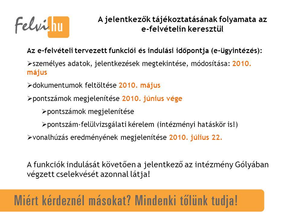 STATISZTIKAI ADATOK (Az első-helyes adatok 2010.03.31-i, az összesítő adatok a felvi.hu április 1-i feldolgozottsága alapján.)