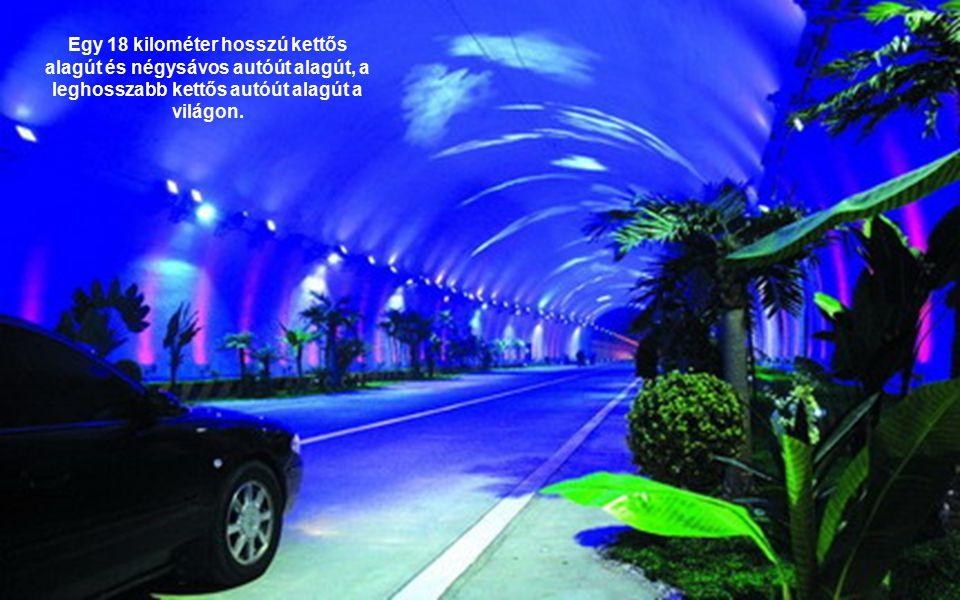 Egy 18 kilométer hosszú kettős alagút és négysávos autóút alagút, a leghosszabb kettős autóút alagút a világon.