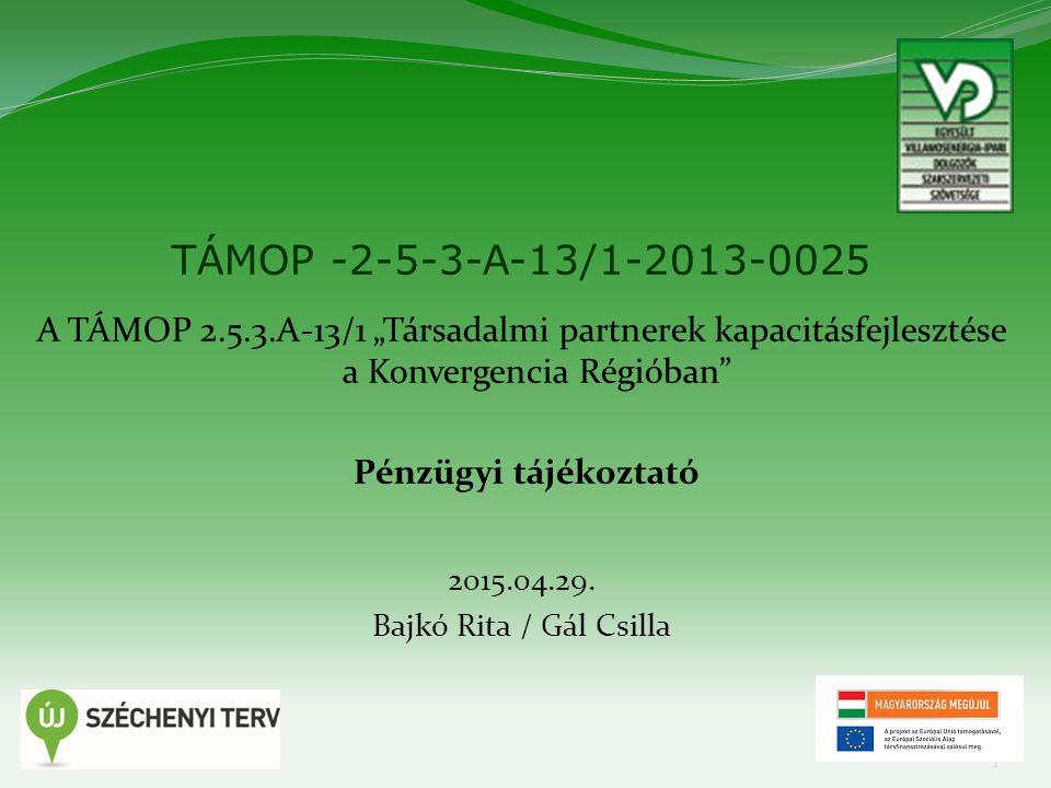 """1 TÁMOP -2-5-3-A-13/1-2013-0025 A TÁMOP 2.5.3.A-13/1 """"Társadalmi partnerek kapacitásfejlesztése a Konvergencia Régióban"""" Pénzügyi tájékoztató 2015.04."""