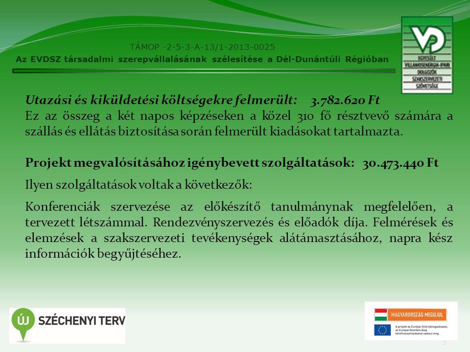 TÁMOP -2-5-3-A-13/1-2013-0025 Az EVDSZ társadalmi szerepvállalásának szélesítése a Dél-Dunántúli Régióban 5 Utazási és kiküldetési költségekre felmerü