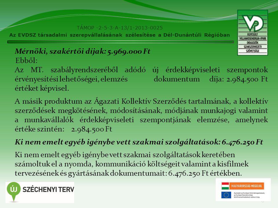 TÁMOP -2-5-3-A-13/1-2013-0025 Az EVDSZ társadalmi szerepvállalásának szélesítése a Dél-Dunántúli Régióban 6 Mérnöki, szakértői díjak: 5.969.000 Ft Ebb