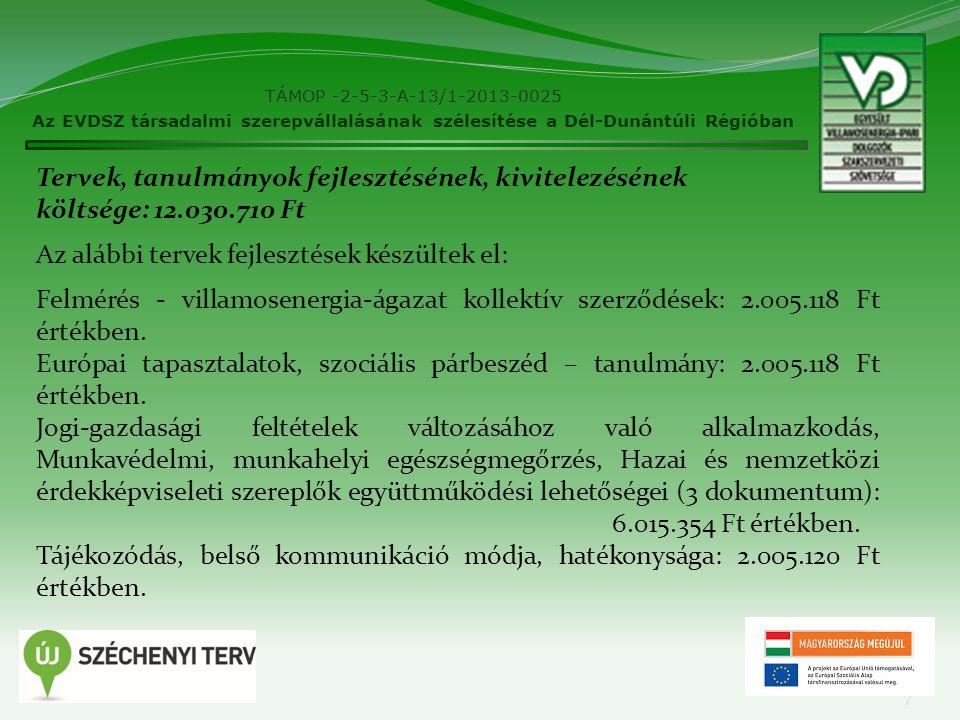 TÁMOP -2-5-3-A-13/1-2013-0025 Az EVDSZ társadalmi szerepvállalásának szélesítése a Dél-Dunántúli Régióban 7 Tervek, tanulmányok fejlesztésének, kivite