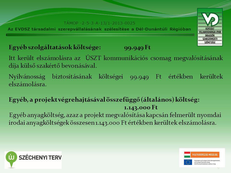 TÁMOP -2-5-3-A-13/1-2013-0025 Az EVDSZ társadalmi szerepvállalásának szélesítése a Dél-Dunántúli Régióban 9 Egyéb szolgáltatások költsége: 99.949 Ft I
