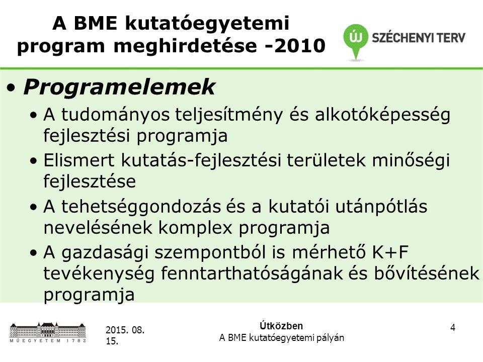 Útközben A BME kutatóegyetemi pályán 2015. 08. 15. 4 A BME kutatóegyetemi program meghirdetése -2010 Programelemek A tudományos teljesítmény és alkotó